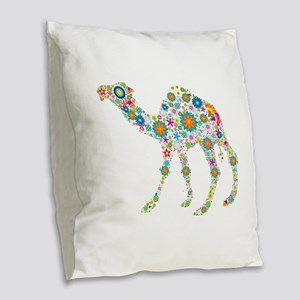 Colorful Retro Floral Camel Burlap Throw Pillow