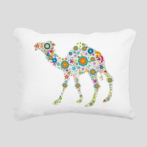 Colorful Retro Floral Ca Rectangular Canvas Pillow
