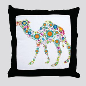 Colorful Retro Floral Camel Throw Pillow