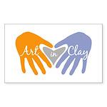 Art in Clay / Heart / Hands Sticker (Rectangle)