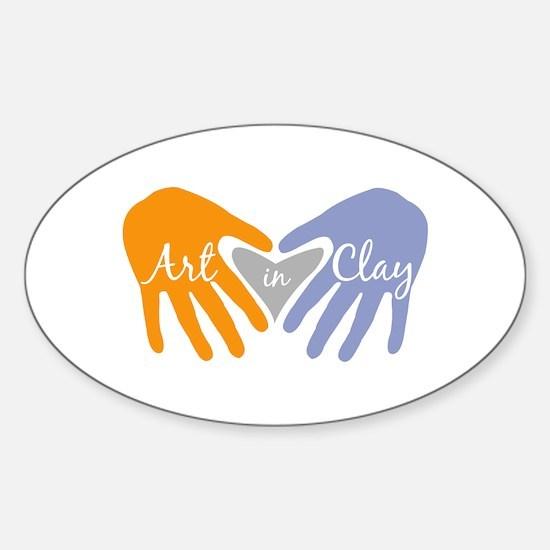 Art in Clay / Heart / Hands Sticker (Oval)