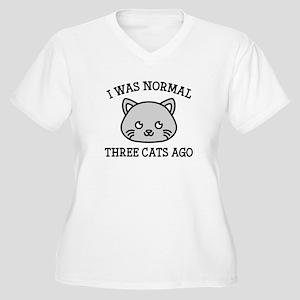 I Was Normal Three Cats Ago Women's Plus Size V-Ne