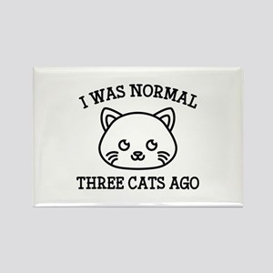 I Was Normal Three Cats Ago Rectangle Magnet