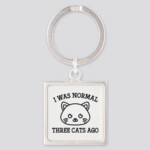 I Was Normal Three Cats Ago Square Keychain