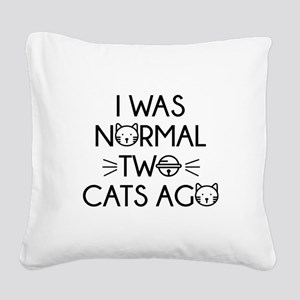I Was Normal Two Cats Ago Square Canvas Pillow