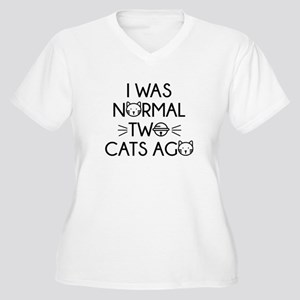 I Was Normal Two Cats Ago Women's Plus Size V-Neck