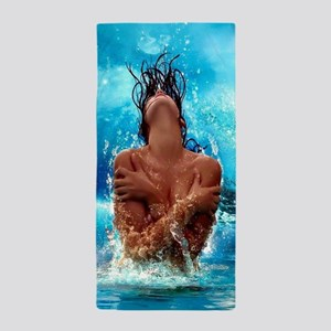 Sexy Mermaid In Water Beach Towel