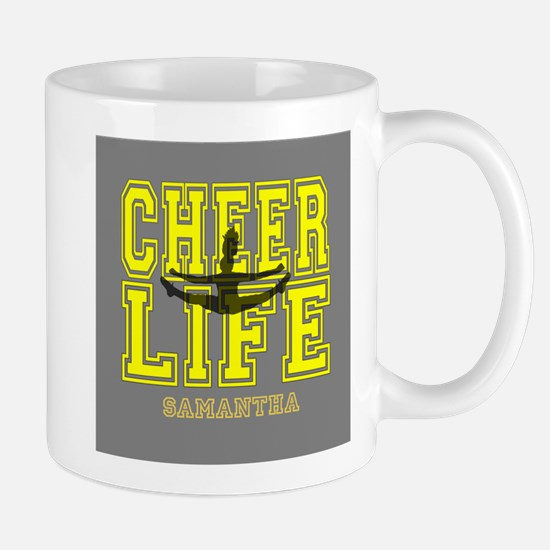 Yellow Cheerleader personalized Mugs