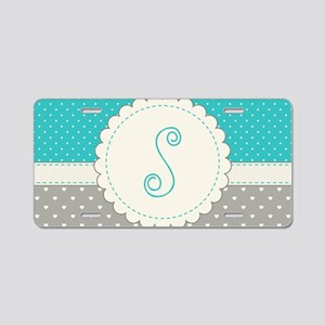 Cute Monogram Letter S Aluminum License Plate