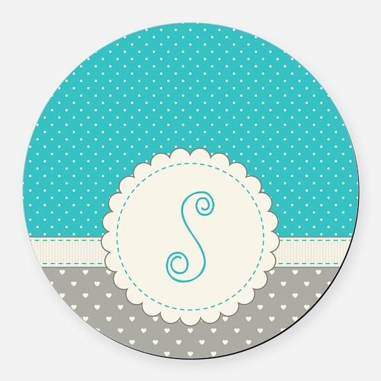 Cute Monogram Letter S Round Car Magnet
