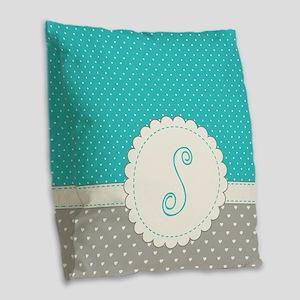 Cute Monogram Letter S Burlap Throw Pillow