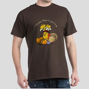Happy Thanksgiving Pumpkins Dark T-Shirt
