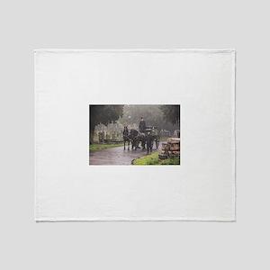 FUNERAL IN THE RAIN Throw Blanket