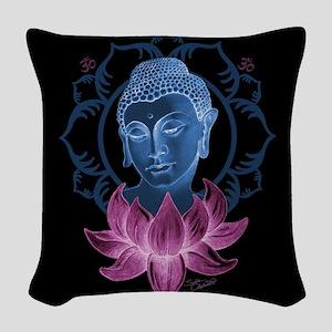 Buddha With Lotus Woven Throw Pillow