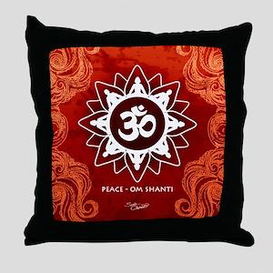 Om Shanti Peace Red Meditation Throw Pillow