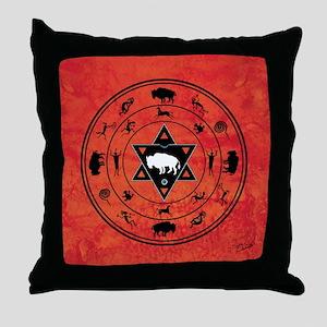White Buffalo - Red Meditation Throw Pillow