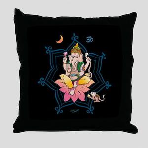 Ganesha - Black Meditation Throw Pillow
