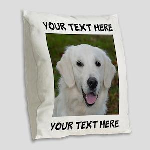 Dog Golden Retriever Burlap Throw Pillow