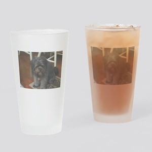 happy dark dog at party Drinking Glass