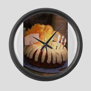 birthday bundt cake Large Wall Clock