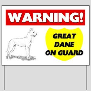 Warning Great Dane On Guard Yard Sign