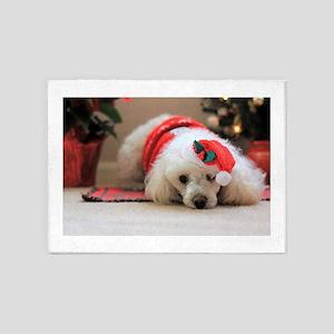 Christmas poodle dog 5'x7'Area Rug