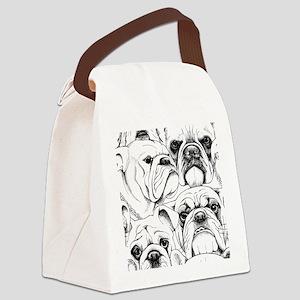 Bulldog Collage Canvas Lunch Bag