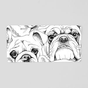 Bulldog Collage Aluminum License Plate