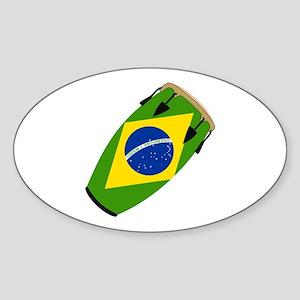 Conga Brazil Flag music Oval Sticker