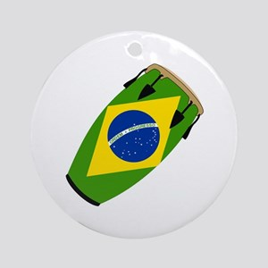 Conga Brazil Flag music Ornament (Round)