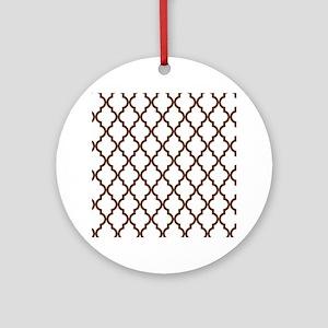 Moroccan Quatrefoil Pattern: Chocol Round Ornament
