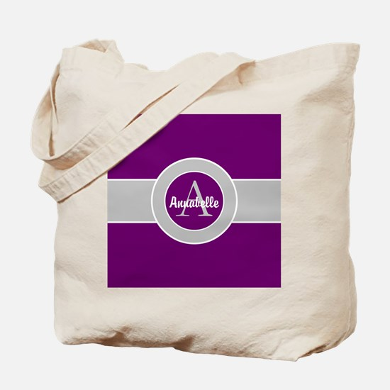 Purple Gray Monogram Personalized Tote Bag