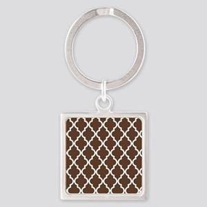 Moroccan Quatrefoil Pattern: Choco Square Keychain