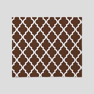 Moroccan Quatrefoil Pattern: Chocola Throw Blanket