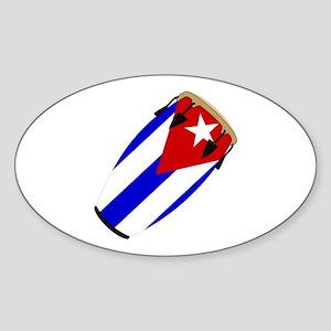 Conga Cuba Flag music Oval Sticker