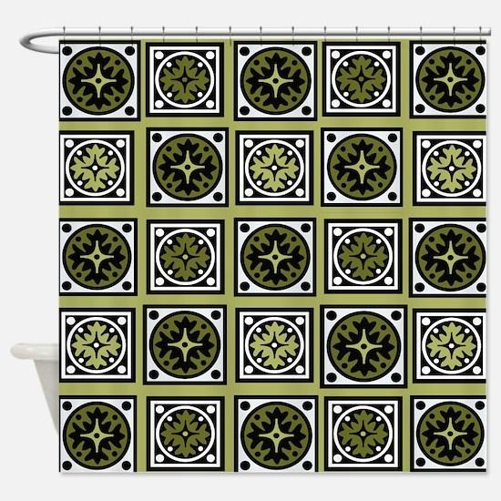 Retro Green Style Shower Curtain