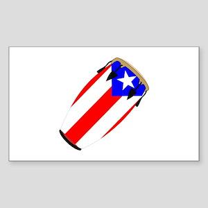 Conga Puerto Rico Flag Rectangle Sticker