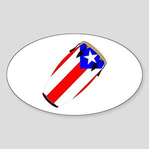 Conga Puerto Rico Flag Oval Sticker