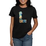 Beach theme initial Women's Dark T-Shirt