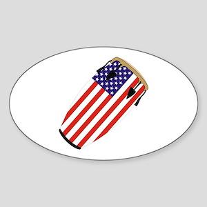 Conga USA Flag music Oval Sticker