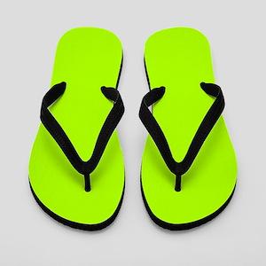 Fluorescent Green Solid Color Flip Flops