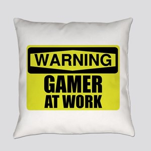 Warning Sign Gamer At Work Funny Everyday Pillow