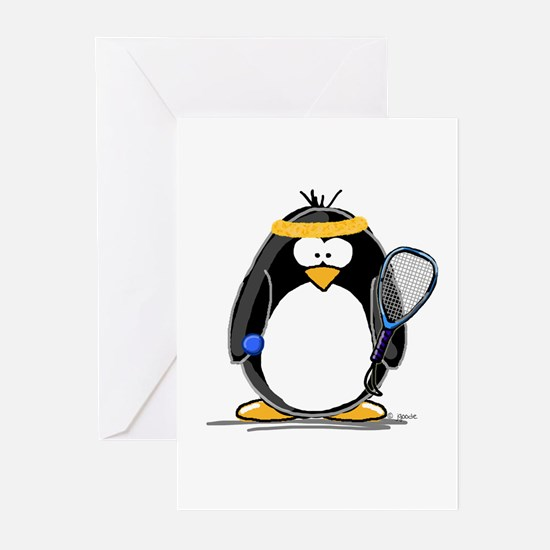 racquetball Penguin Greeting Cards