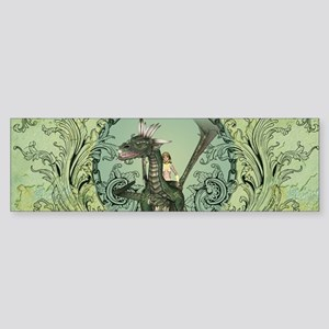Friends, dragon with fairy in a frame Bumper Stick
