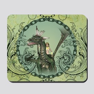 Friends, dragon with fairy in a frame Mousepad
