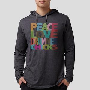 Peace Love Drummer Chicks Long Sleeve T-Shirt