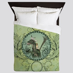 Friends, dragon with fairy in a frame Queen Duvet