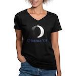 Obama O Women's V-Neck Dark T-Shirt