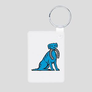 Blue Merle Dog Sitting Biting Horseshoe Retro Keyc