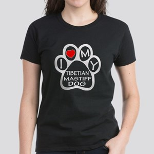 I Love My Tibetan Mastiff Dog Women's Dark T-Shirt
